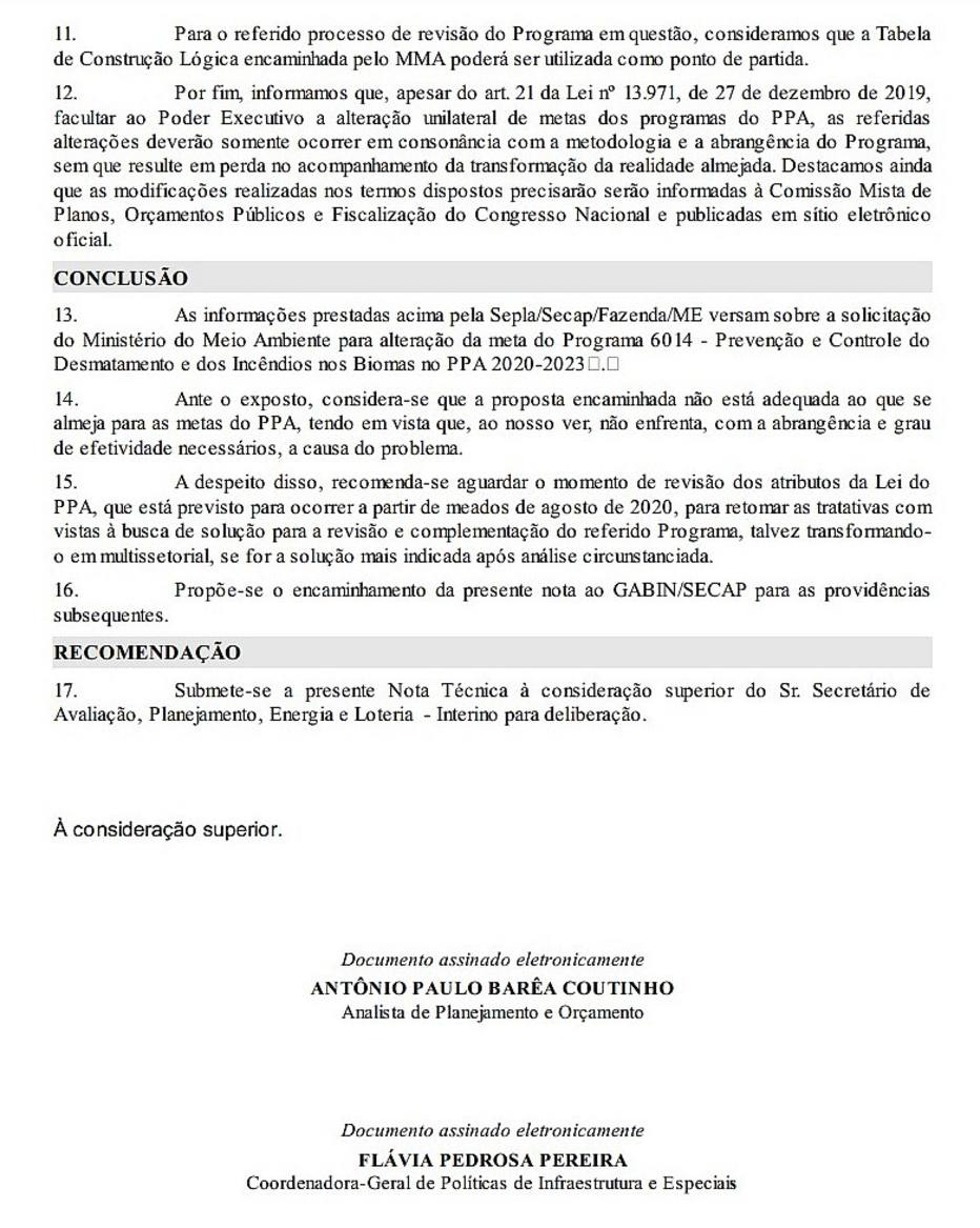 """Nota técnica do Ministério da Economia em resposta ao pedido do Salles conclui que proposta apresentada pelo Meio Ambiente de mudar meta de preservação até 2023 não é """"adequada"""""""