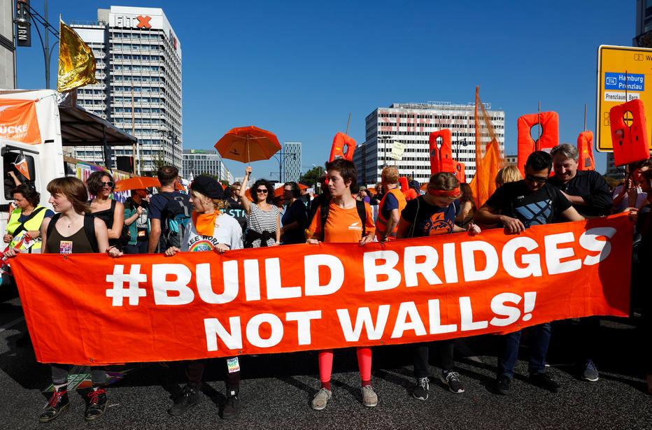 Manifestação em Berlim, na Alemanha