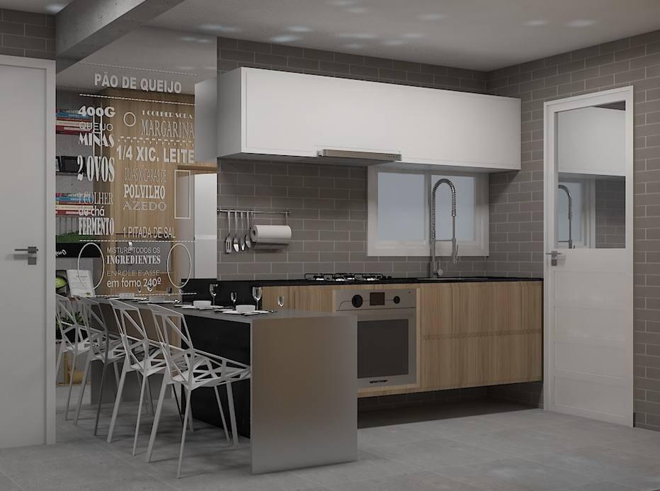 Arquitetos projetaram soluções para cozinha em apartamento pequeno