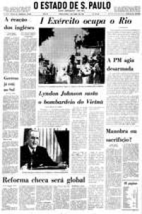 Capa do<a href='http://acervo.estadao.com.br/pagina/#!/19680402-28520-nac-0001-999-1-not/' target='_blank'>Estadão de 2 de abril de 1968</a>com a manchete sobre a intervenção do Exército no Rio de Janeiro por causa dos protestos estudantis que eclodiram na cidade após a morte do estudante Edson Luís.