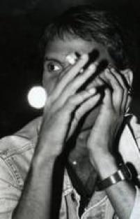 Cantor durante entrevista no Aeroanta em São Paulo, agosto 1988.