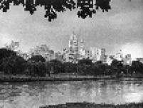 Prédios da cidade de São Paulo vistos do Parque Dom Pedro, à margem do rio Tamanduateí em 1963.