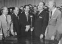 Tancredo Neves, João Goulart, Ranieri Mazzili e Ulysses Guimarães na cerimônia de posse do segundo em 1962.