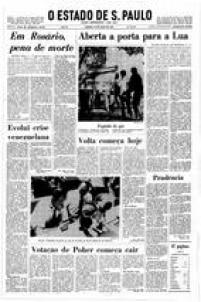 Capa do<a href='http://https://acervo.estadao.com.br/pagina/#!/19690524-28871-nac-0001-999-1-not' target='_blank'>jornal de 24/10/1969</a>sobre a missão Apolo-10.