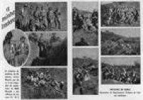Composição com fotografias de combatentes nas trincheiras da Revolução de 1932. Imagem publicada noSuplemento Rotogravurade 25/8/1932