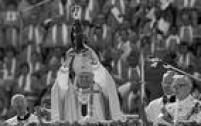 Papa, João paulo II, celebra missa de inauguração da Basílica de Nossa Senhora Aparecida, 4/7/1980. Clique<a href='http://https://acervo.estadao.com.br/noticias/acervo,fotos-historicas-o-papa-e-a-santa,11224,0.htm' target='_blank'>aqui</a>para saber mais