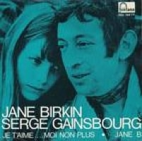 Serg Gainsbourg e Jane Birkin na capa do disco com 'Je t'aime... mon non plus'