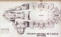 Projeto do Estádio Municipal Paulo Machado de Carvalho, com a Concha Acústica ao fundo do campo de futebol. Imagens publicadas na Rotogravura de 15/04/1940