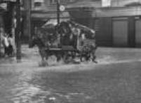 Carroça enfrenta enchente na região central de São Paulo, SP. 24/12/1966.
