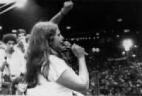 A cantora Fafá de Belém participa do comício no ABC pela Campanha Diretas Já,São Paulo, SP.16/04/1984.