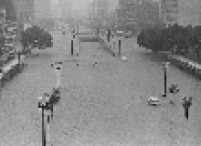 Vista de enchente no Vale do Anhangabaú, centro da capital paulista, em 1967