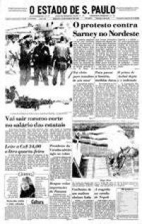 <a href='http://acervo.estadao.com.br/pagina/#!/19880312-34675-nac-0001-999-1-not' target='_blank'>Capa do jornal O Estado de S. Paulo de 12 de março de 1988</a>com a manchete sobre manifestantes contrários aotempo de mandato do presidenteJosé Sarney.
