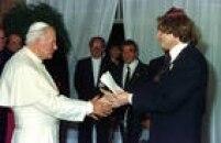 O papa João Paulo IIcumprimenta o rabino Henry Sobel durante encontro no Palácio do Planalto, DF, Brasília, em 12/10/1991.
