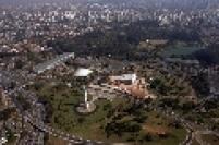 Vista aérea do Parque do Ibirapuera, onde está localizado o Museu Afro Brasil.