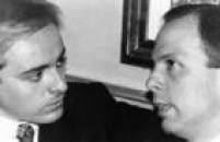 Os apresentadores Gugu Liberato e João Doria conversam durante festa na casa noturna Leopoldo, São Paulo, SP.,07/10/1992.