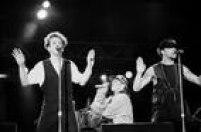 A boyband New Kids on the Block fazshow no Rock in Rio II, Maracanã, no Rio de Janeiro, 22/01/1991