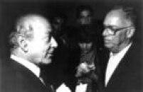 O candidato do PDT à Presidência da República, Leonel Brizola encontra-se com o jornalista Armando Nogueira em São Paulo,SP. 07/09/1989.