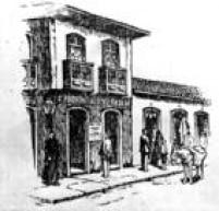 Ilustração mostra o sobrado da rua do Palácio, 14, esquina com a rua do Comércio(arua do Palácio é a atual Rua do Tesouro e a do Comércio é a Rua Álvares Penteado), onde<a href='http://acervo.estadao.com.br/historia-do-grupo/decada_1870.shtm' target='_blank'>ficavam a redação, administração e oficinasdo jornal</a>