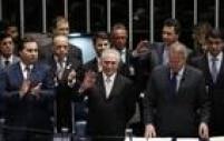 Rodrigo Maia, presidente da Câmara, Temer e o presidente do Senado, Renan Calheiros participam da cerimônia de posse de Michel Temer como Presidente da República após aprovação do impeachment de Dilma Rousseff por 61 votos a 20 no Senado Federal em Brasilia, 31/08/2016.