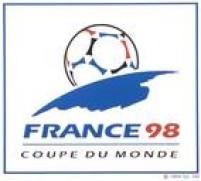Cartaz com o logo da Copa do Mundo de Futebol, realizada na França em 1998