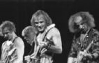 A banda de rock Scorpions se apresenta no Rock in Rio I, 19/01/1985.
