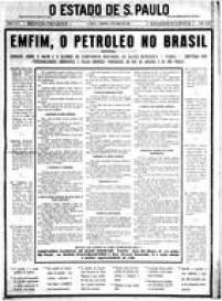 Capa do Estadão 10 de abril de 1938 sobre a nacionalização do petróleo.