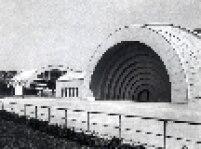 A antiga Concha Acústica do Estádio Municipal Paulo Machado de Carvalho. Ela foi demolida em 1970, pelo então prefeito de São Paulo, Paulo Maluf.