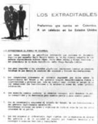 """O grupo de traficantes colombianos criou, no final dos anos 1980, a associação os """"Os Extraditáveis"""", para lutar contra a ameaça de serem extraditados para os EUA. O grupo tinha até slogan, """"Preferimos uma tumba naColômbia, a um calabouço nos Estados Unidos"""". O grupo mandava seus comunicados em papel timbrado como o da reprodução."""