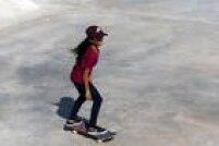 A skatista Rayssa Leal na pista do Parque do Chuvisco em São Paulo, em 2019.