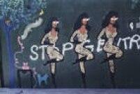 Em um provocante macacão tigresa a Rainha do Frango Assado estampava os muros com outros objetos do seu universo. A graça fica por conta da possívelintervenção de outros artistas.