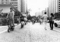 Teste doWalk Machinena Avenida Paulista em 1988. Foto: André Douek/Estadão.