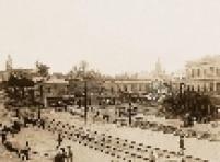 : Praça Verdi, atual Praça do Correio, em 1920. No plano médio, vista a partir das proximidades da Rua Formosa em direção à Igreja de Santa Ifigênia.