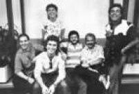 O vocalista e percussionista Paulinho, à esquerda, com os demais integrantes da banda Roupa Nova.São Paulo, SP, 08/5/1986.