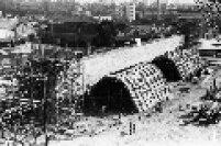 As obras do Memorial da América Latina, em construção na Barra Funda. O memorial foi inaugurado em 1989.