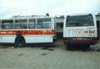 Ônibus da Viação Brasil Luxo são pichados em janeiro de 1992.