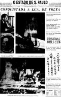 Capa do jornal de<a href='http://https://acervo.estadao.com.br/pagina/#!/19690722-28921-nac-0001-999-1-not' target='_blank'>22/7/1969</a>sobre o pouso na Lua