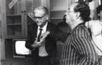 Os políticos do PDS, o deputado Erasmo Dias e candidato à Presidência, Paulo Salim Maluf, conversamdurante evento de campanha em em São Paulo. SP. 16/11/1989.