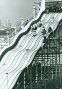 Imagem do tobogã no parque de diversões Playcenter, em 1989