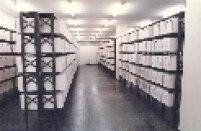 Parte interna da atual sede do Arquivo do Estado. Na foto sala com documentos sobre o DOPS (Departamento de Ordem Política e Social)