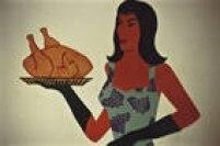 O famoso frango assado de estêncil, saiu da mente de um artista fã de cores e símbolos, e sua Rainha.