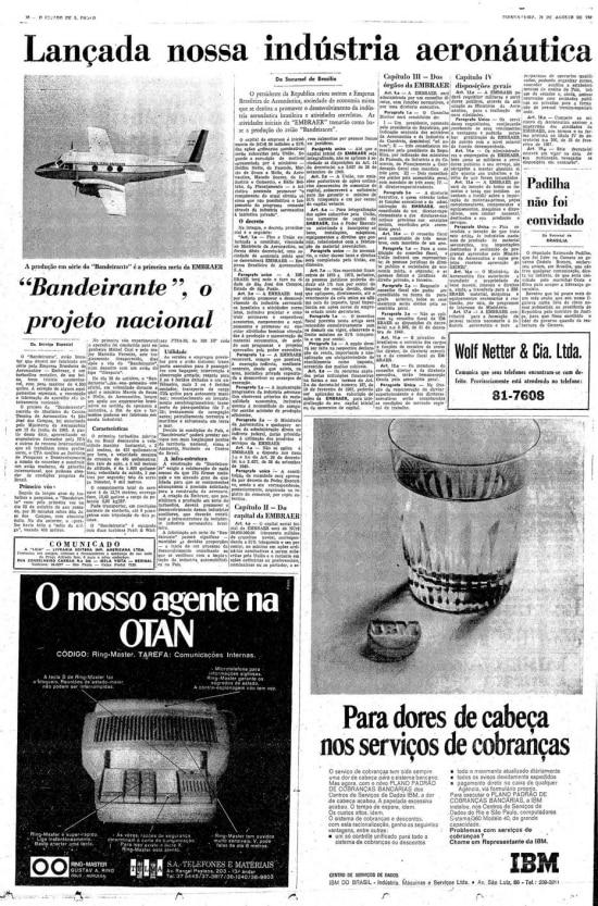 Página do Estadão de 28/8/1969 com acriação da Embraer.