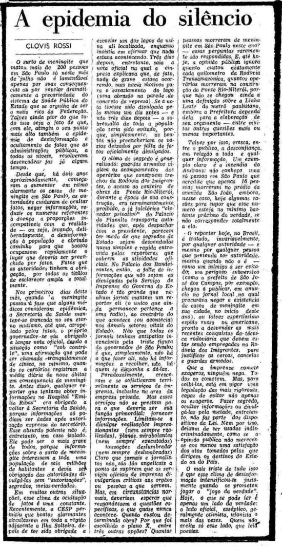 Texto deClóvis Rossi censurado pela ditadura militarem 26/7/1974.