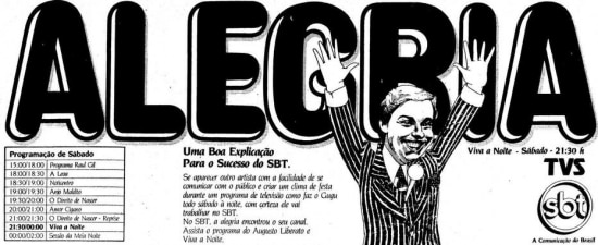 Anúncio do programaViva a Noite em 1983