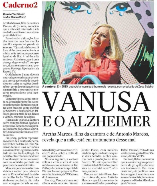 A filha Aretha Marcos fala sobre adoença de Vanusaem 2020