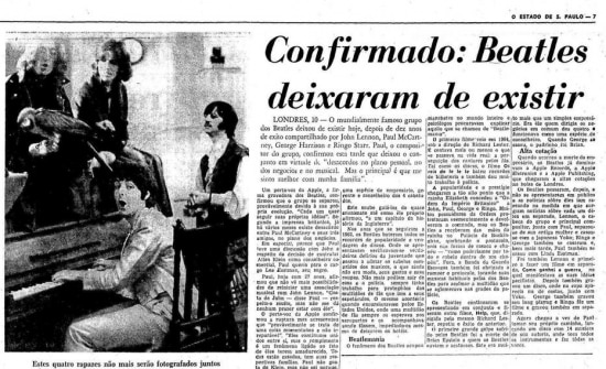 Notícia do fim dos Beatlesno jornal de 11/4/1970