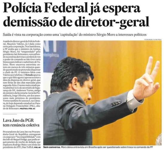 Sérgio Moro nojornal de 5/9/2019