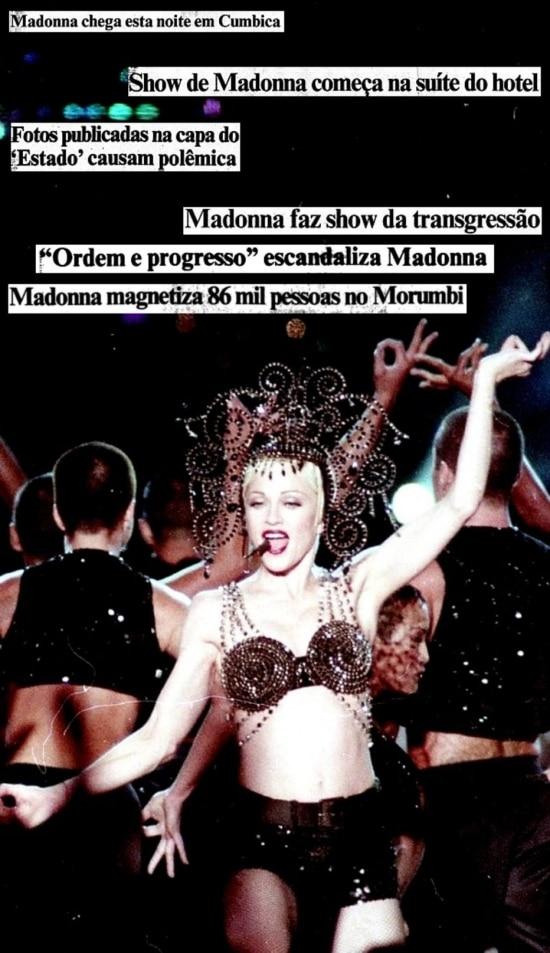 Montagem comnotícias da turnê de Madonnano Brasil em 1993.