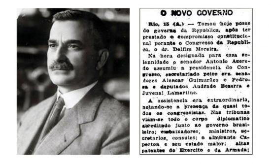 Eleito vice-presidente em 1918,Delfim Moreiraassumiu a Presidênciadurante a doença deRodrigues Alves.