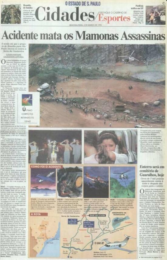 Página sobre oacidente aéreo dos Mamonas Assassinas