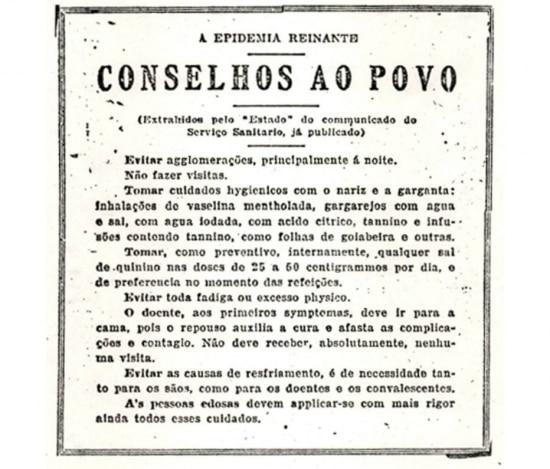 Comunicado do Serviço Sanitário para prevenção da gripe espanhol, 1918.